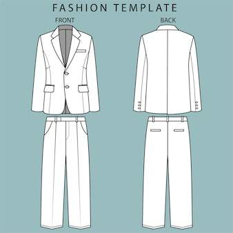 Blazer und hose vorder- und rückansicht. bürokleidung outfit. mode flache skizze vorlage