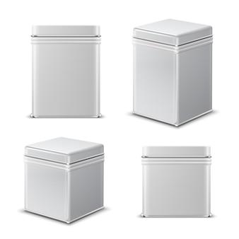 Blechdose. rechteckiger weißmetallbehälter. nahrungsmittelpaketvektor lokalisiert