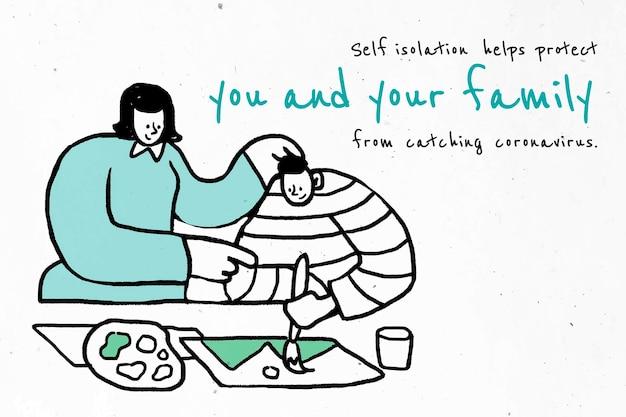 Bleib in selbstisolation, um dich und andere zu schützen Kostenlosen Vektoren