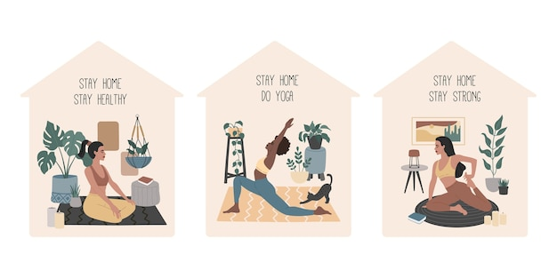 Bleib in sicherheit, eine gruppe von mädchen, die yoga machen