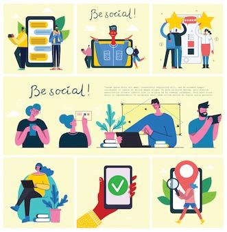 Bleib mobil, sei sozial! verbindungshintergrund mit mann mit laptop und smartphones. chat, e-mail-nachrichten, sms, mobile konzepte für websites, webbanner in flachem design