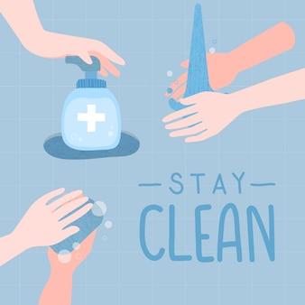 Bleib sauber illustration. waschen sie ihre hände, um die ausbreitung des coronavirus-vektors zu verhindern