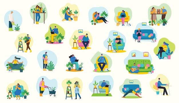 Bleib und arbeite zu hause. eltern und kind zu hause und mit digitalem gerät, buch lesen und gitarre spielen. hobby infografik design elemente vektor-illustration in flachen design