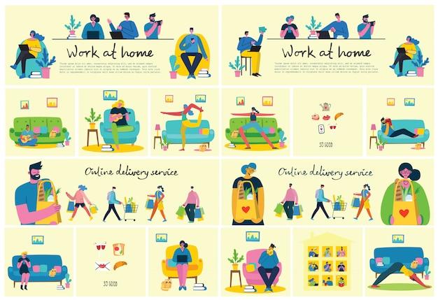 Bleib und arbeite zu hause. menschen, die zu hause bleiben, um das virus covid19 im flachen stil zu verhindern