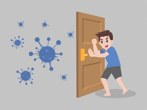 Bleib zu hause, bleib sicher. soziale distanzierung, menschen, die abstand halten, um das infektionsrisiko zu verringern, und krankheiten, um viren vorzubeugen