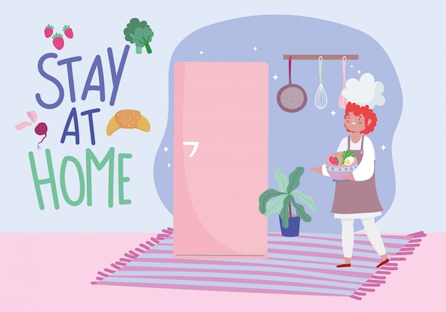 Bleib zu hause, köchin mit einer schüssel voller gemüse, koche quarantäneaktivitäten