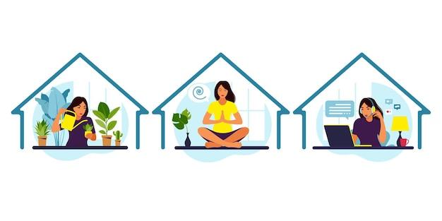 Bleib zu hause konzept. mädchen kümmert sich um zimmerpflanzen, arbeitet am laptop und macht yoga und meditation.