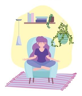 Bleib zu hause, mädchen in meditationspose auf stuhl, selbstisolation, aktivitäten in quarantäne für coronavirus