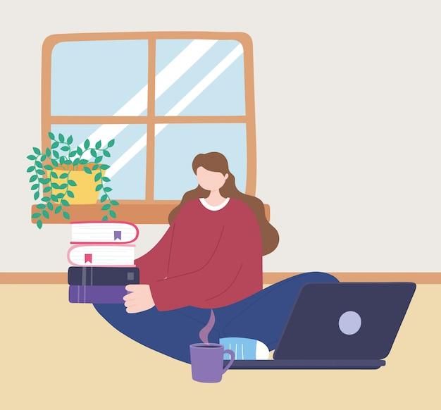 Bleib zu hause, mädchen mit laptop und stapel bücher und kaffeetasse, selbstisolation, aktivitäten in quarantäne für coronavirus