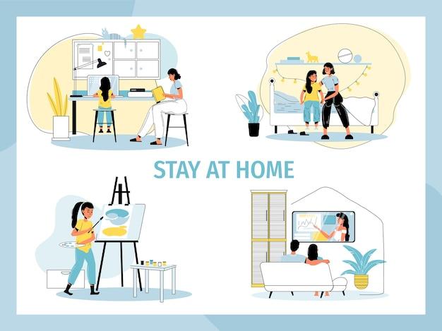 Bleib zu hause. menschen sozial motivieren plakat. tägliche häusliche aktivität, routinemäßiger lebensstil im zustand der ausbreitung des quarantänevirus. inländisches kunststudio, online-schule, kaufmännisches training im internet