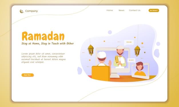 Bleib zu hause und bleib mit anderen in kontakt, wenn ramadan auf der landing page ist