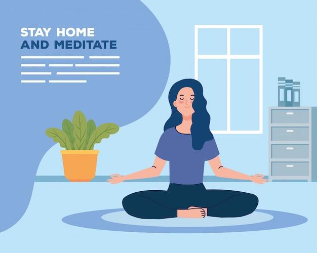 Bleib zu hause und meditiere, frau meditiert im wohnzimmer
