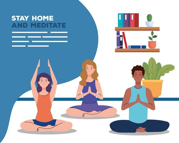 Bleib zu hause und meditiere, leute meditieren