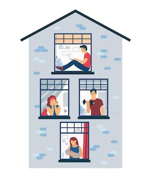 Bleib zuhause. die nachbarn im haus schauen aus dem fenster.