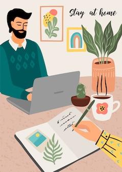 Bleib zuhause. frau schreibt ein tagebuch, mann arbeitet zu hause. illustration