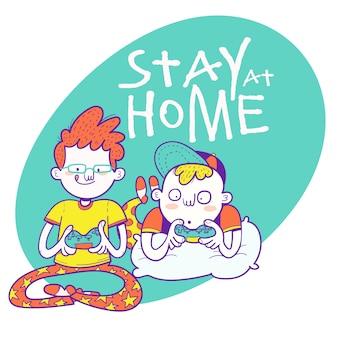 Bleib zuhause. kinder spielen videospiele