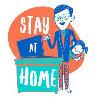 Bleib zuhause. mann hält videokonferenz mit seiner tochter