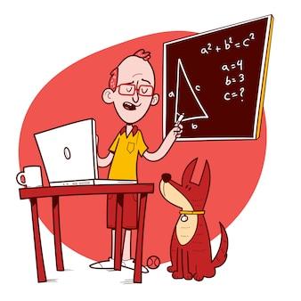 Bleib zuhause. mann unterrichtet online