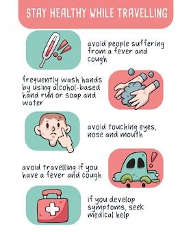 Bleiben sie auf reisen gesund coronavirus-tipps