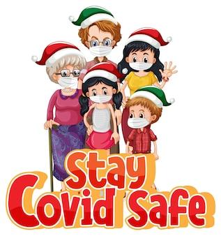 Bleiben sie covid safe schriftart im cartoon-stil mit familie mit medizinischer maske isoliert auf weiß