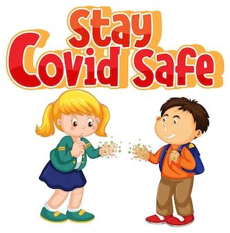 Bleiben sie covid safe-schriftart im cartoon-stil mit zwei kindern, halten sie die soziale distanzierung nicht isoliert auf weißem hintergrund