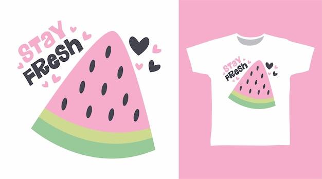 Bleiben sie frisch wassermelonen-typografie für t-shirt-design