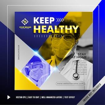 Bleiben sie gesund banner werbevorlage
