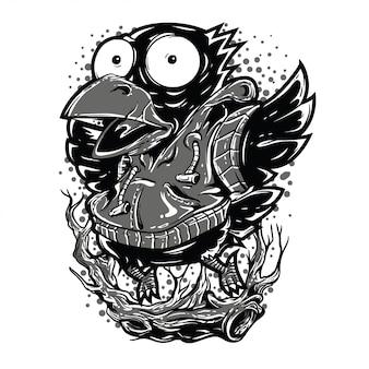 Bleiben sie hoch schwarzweiß-illustration