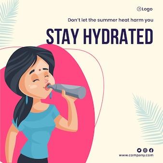 Bleiben sie hydratisiert im sommer-banner-design