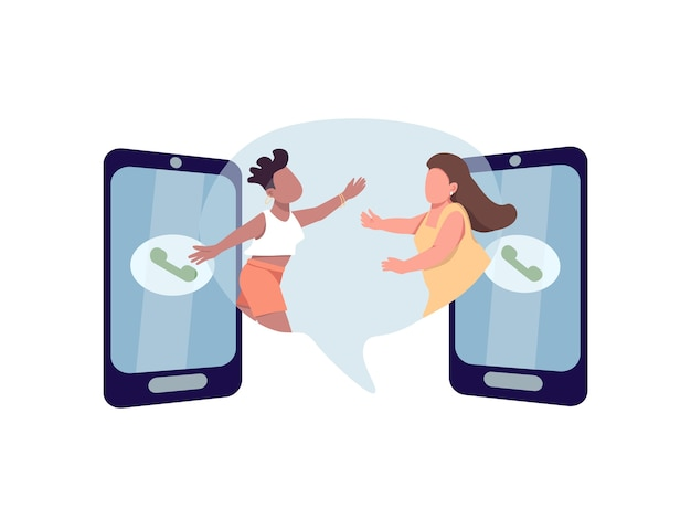 Bleiben sie in kontakt flaches konzept. zwei frauen wollen sich umarmen. multi rassisches lesbisches paar. familie 2d-zeichentrickfiguren für webdesign. verbindung durch telefonanruf kreative idee