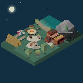 Bleiben sie nachts auf dem isometrischen vektor des campingplatzes