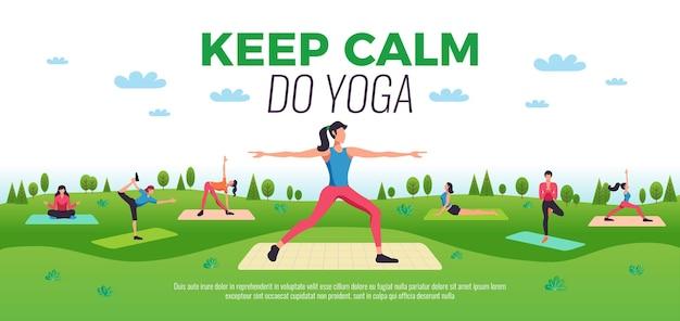 Bleiben sie ruhig, machen sie yoga-online-kurse, die eine flache horizontale komposition der werbung mit praktizierender menschenillustration im freien darstellen