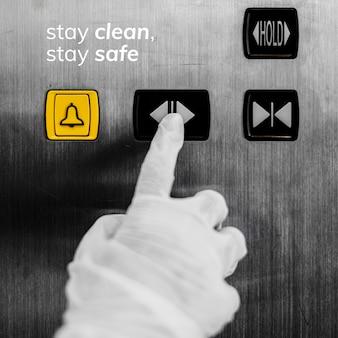 Bleiben sie sauber, bleiben sie während des sozialen vorlagenvektors der coronavirus-pandemie sicher