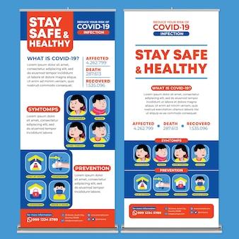 Bleiben sie sicher und bleiben sie gesund posterdruckvorlage im flachen design-stil