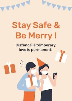 Bleiben sie sicher und seien sie fröhlich vorlage neue normale feier