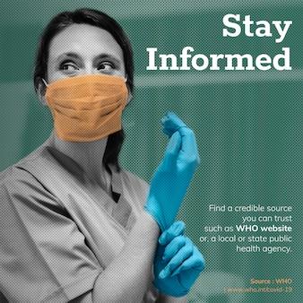 Bleiben sie während der coronavirus-pandemie informiert, soziale vorlagenquelle who-vektor