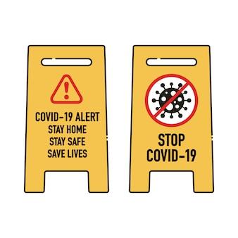 Bleiben sie zu hause, bleiben sie sicher, retten sie leben beschilderung design-konzept. stoppen sie covid-19 coronavirus novel coronavirus (2019-ncov).