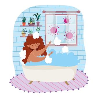 Bleiben sie zu hause, cartoon junge frau in der badewanne freizeit