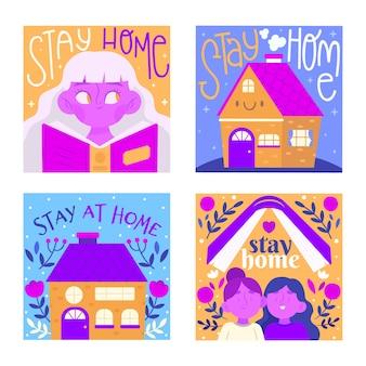Bleiben sie zu hause event instagram story collection-vorlage