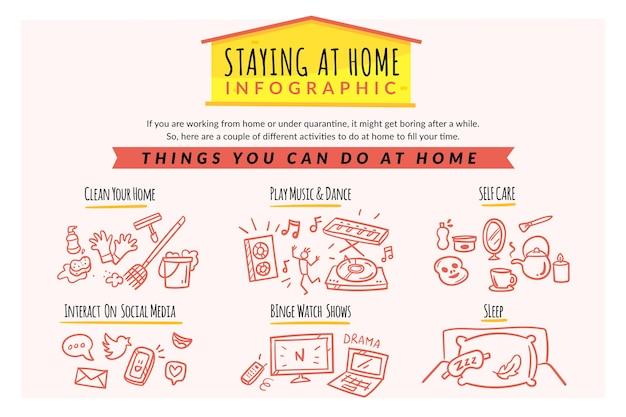 Bleiben sie zu hause im infografik-stil