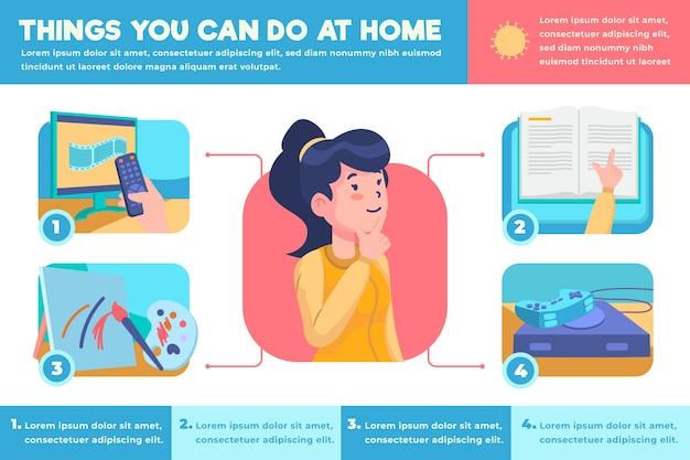 Bleiben sie zu hause infografik in flachem design