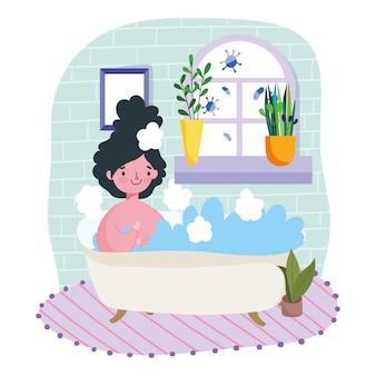 Bleiben sie zu hause, junge frau entspannen in badewanne zimmer mit pflanzen in töpfen