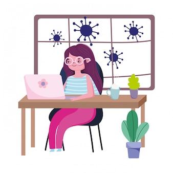 Bleiben sie zu hause, junge frau telearbeit mit laptop in schreibtisch quarantäne-prävention, covid 19