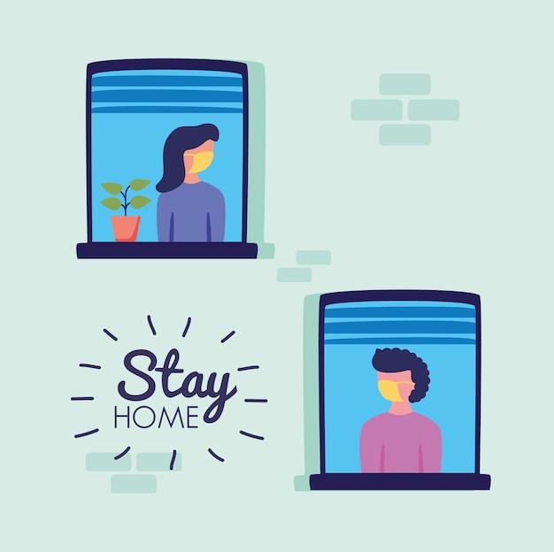 Bleiben sie zu hause kampagne mit personen in windows vektor-illustration design