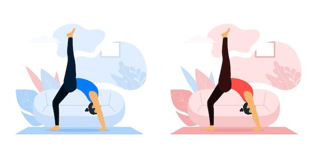 Bleiben sie zu hause konzept oder frauen machen yoga