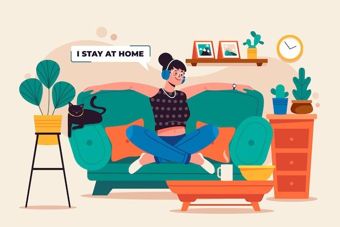 Bleiben Sie zu Hause Konzept