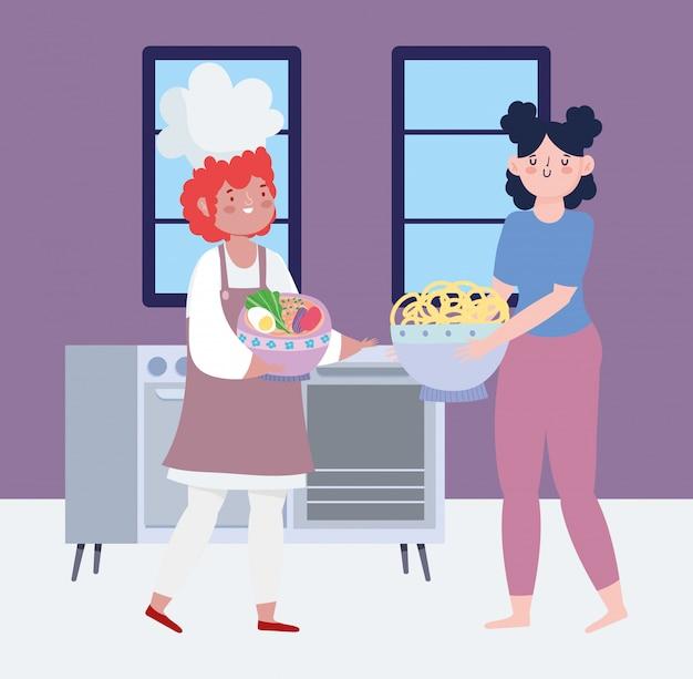 Bleiben sie zu hause, männlicher koch und frau mit essen in händen cartoon, kochen