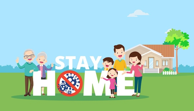 Bleiben sie zu hause mit der familie, die sich selbst schützt, um das coronavirus covid-19 zu verhindern