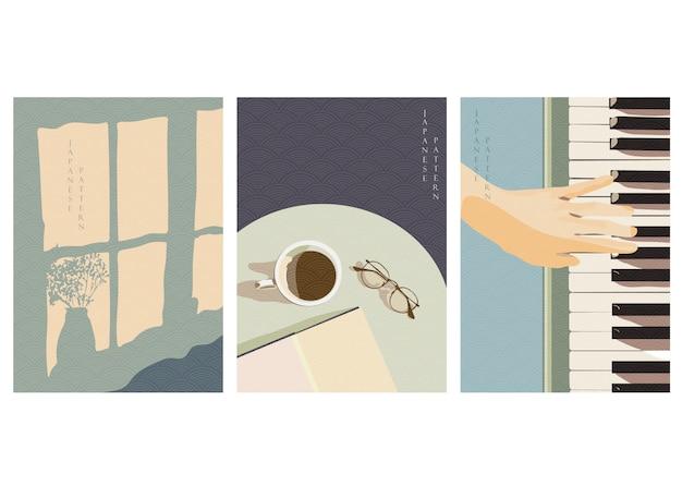 Bleiben sie zu hause mit japanischen wellenmustern. schatten auf vorhang, kaffeetasse auf schreibtisch, spielen klavierhintergrund im weinlesestil.
