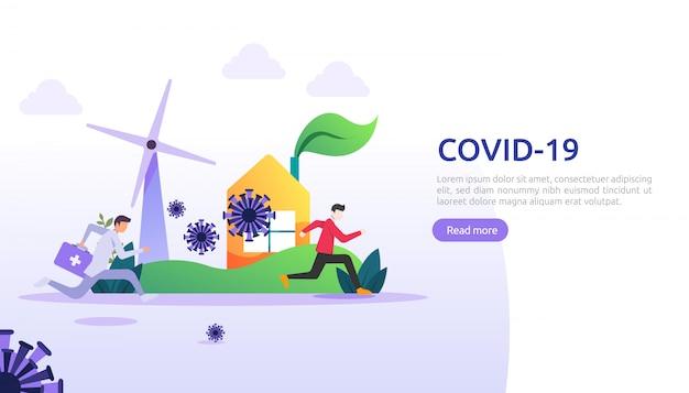 Bleiben sie zu hause oder in sozialer entfernung, um das illustrationskonzept des covid-19-coronavirus zu bekämpfen. menschen laufen von coronavirus 2019-ncov impfstoff. web-landingpage-vorlage, präsentation